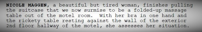 A perfect paragraph of action in a screenplay.